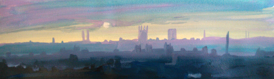 City Painting - Industrial City Skyline 1 by Paul Mitchell