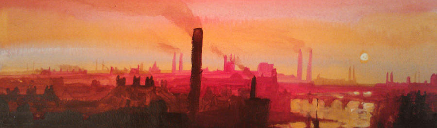 City Painting - Industrial City Skyline 2 by Paul Mitchell