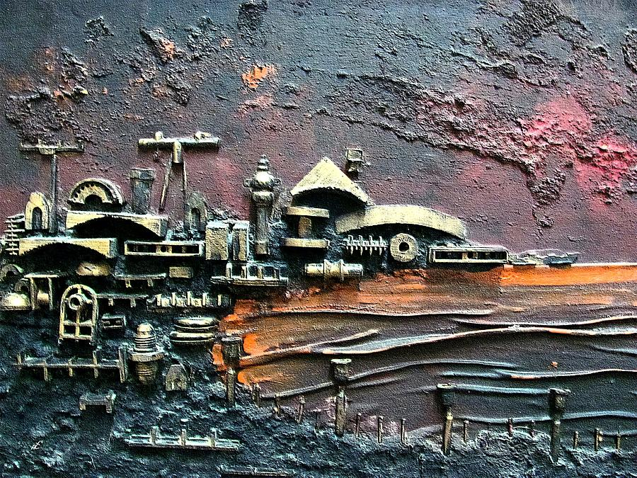 Industrial Port Part 1 By Rafi Talby Painting By Rafi Talby