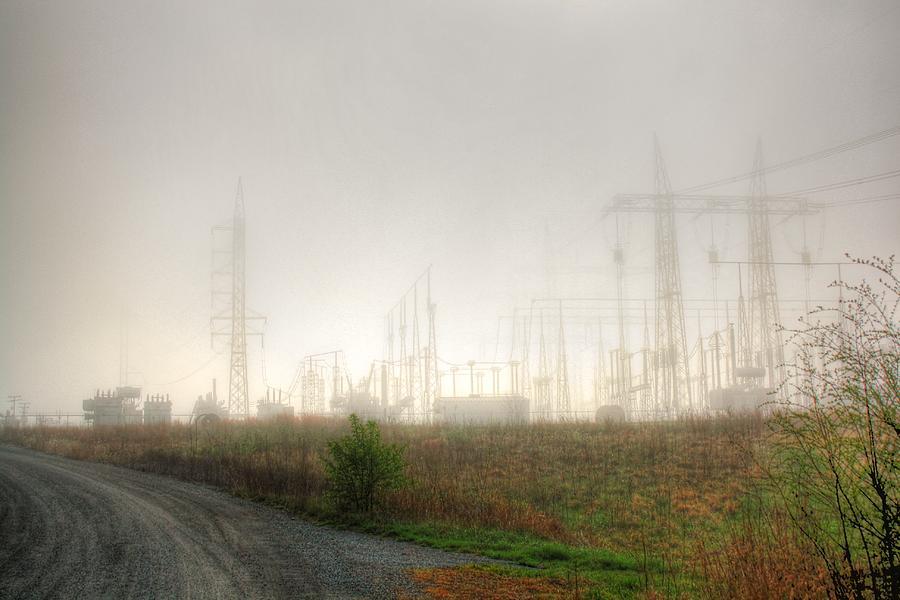 Fog Photograph - Industrial Skeleton by Dan Stone