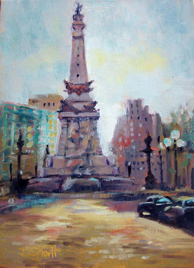 Indianapolis Painting - Indy Circle Back-lit by Donna Shortt