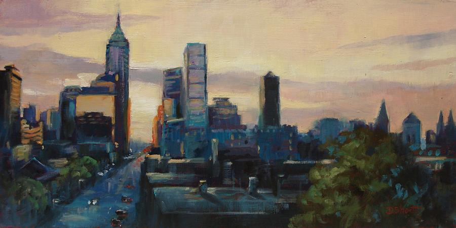 Indianapolis Painting - Indy City Scape by Donna Shortt