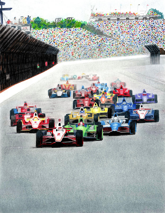 Indy Car Racing Mixed Media - Indy by Lyle Brown