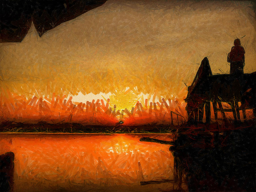 Landscape Paintings Painting - Infinite Oz Sun Set  by Teara Na