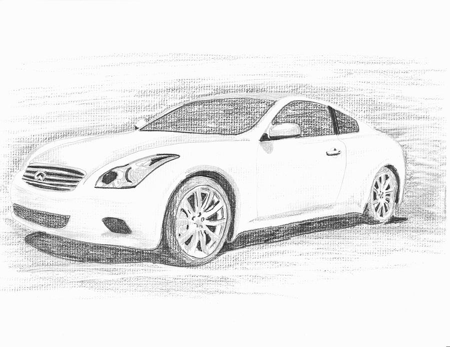 Pencil Drawings Drawing - Infinity G37 Coupe by John Jones