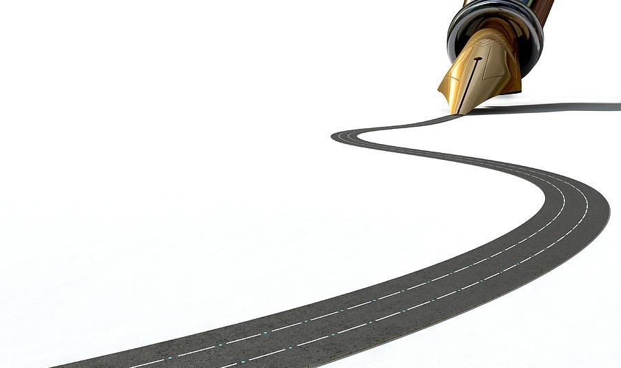Pen Digital Art - Infrastructure Pen And Road by Allan Swart