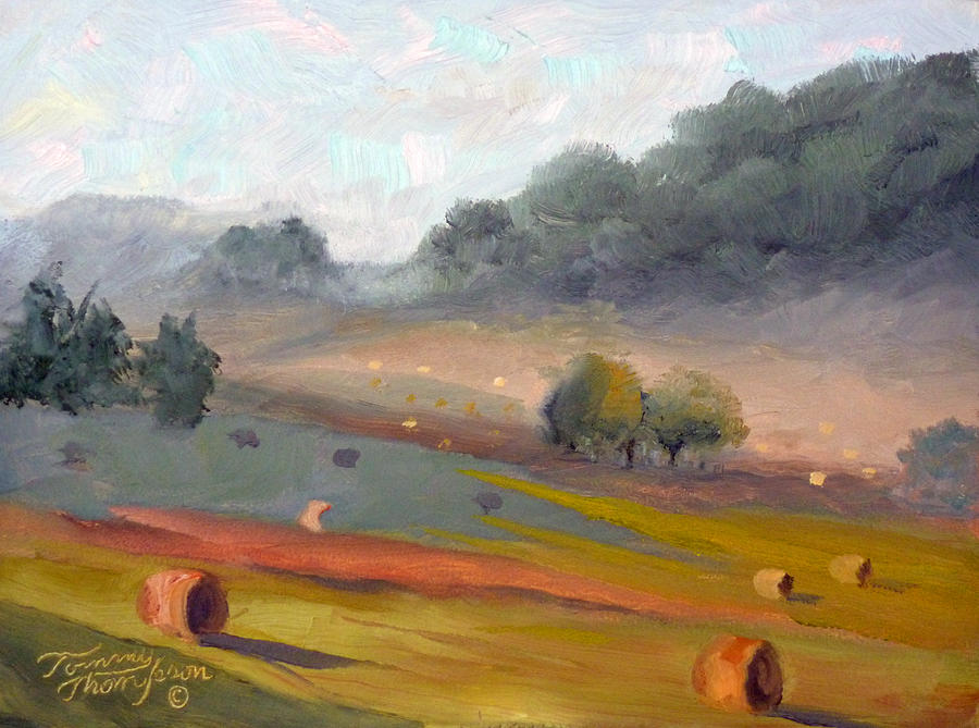 Haybales Painting - Ingram Haybales by Tommy Thompson