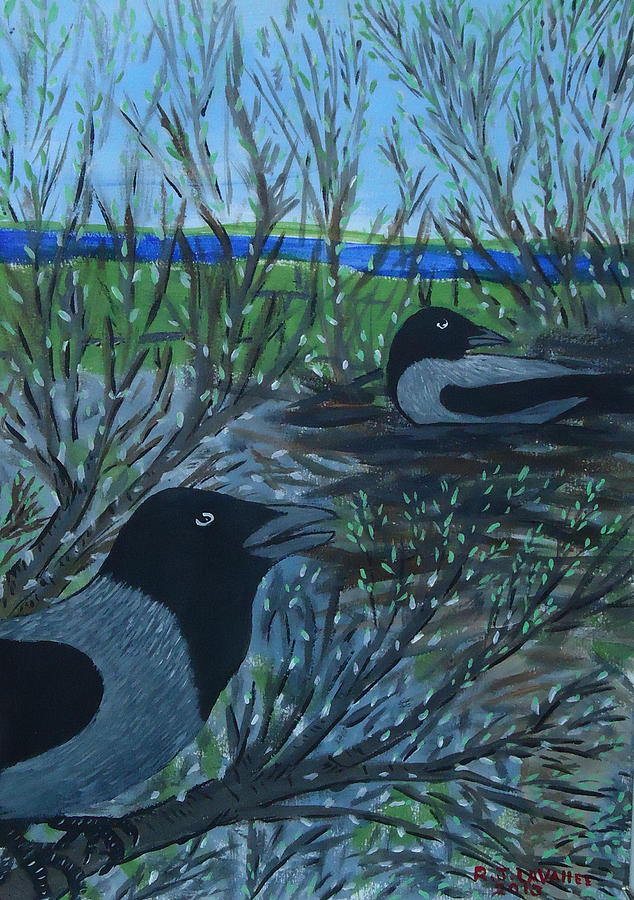 Hooded Crow Painting - Inis Meain 5 Hooded Crows by Roland LaVallee