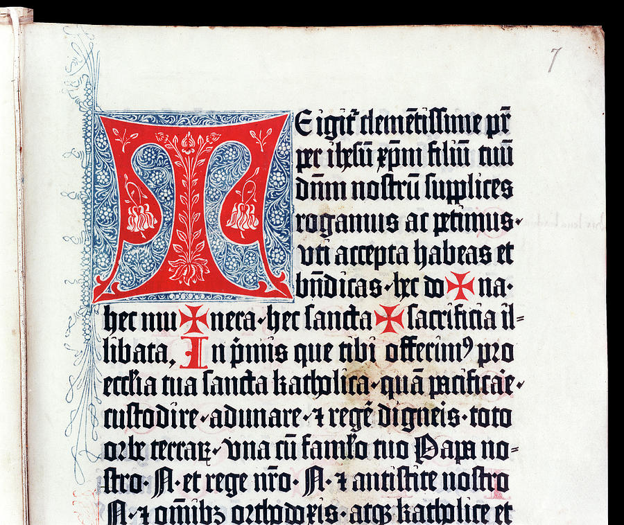 15th Century Photograph - Initial From The Canon Missae by Bodleian Museum/oxford University Images