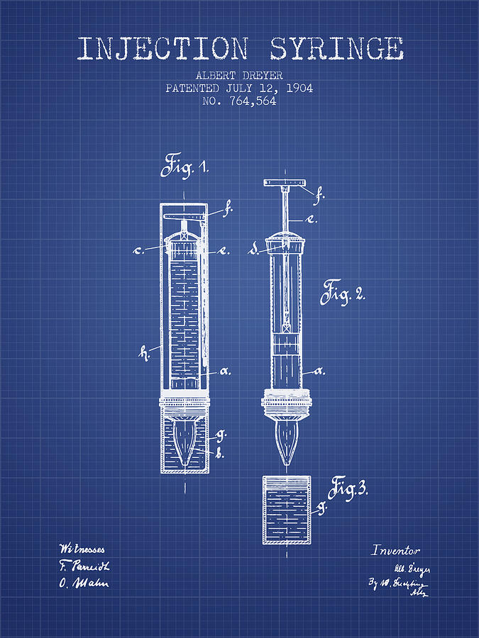 Injection syringe patent from 1904 blueprint digital art by aged medical device digital art injection syringe patent from 1904 blueprint by aged pixel malvernweather