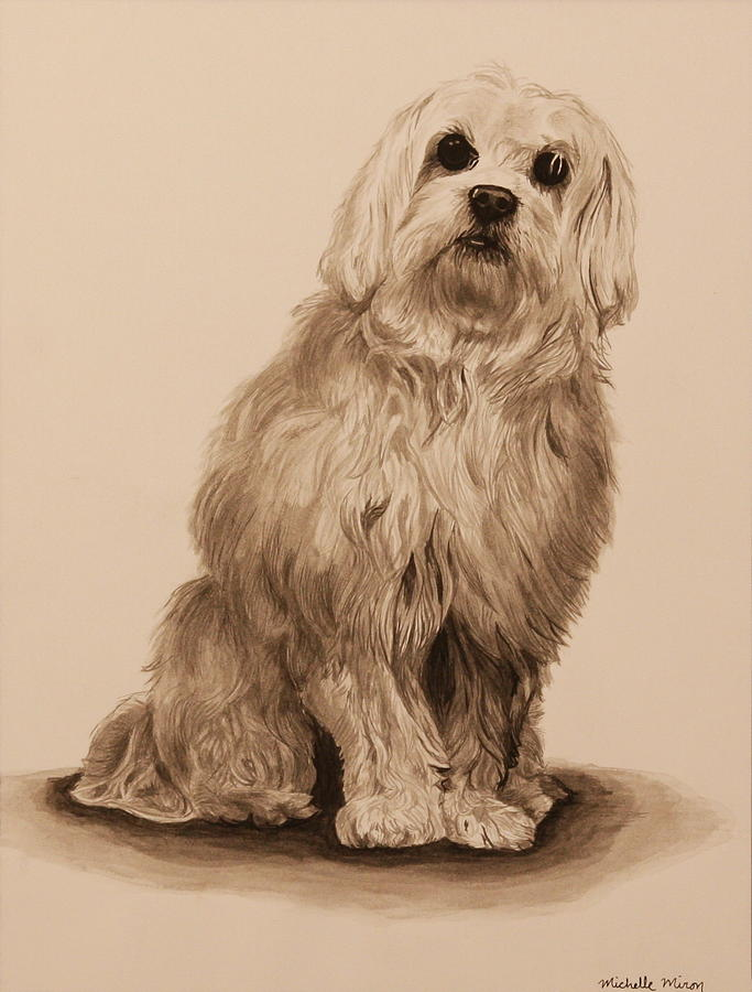 Dog Painting - Ink Dog by Michelle Miron-Rebbe