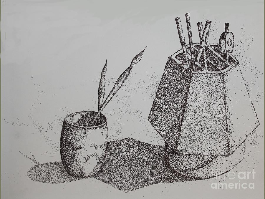 Pointillism drawing ink dot drawing by ronald gater