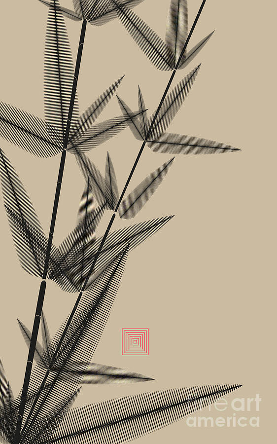 Japan Digital Art - Ink Style Bamboo Illustration In Black by L.dep