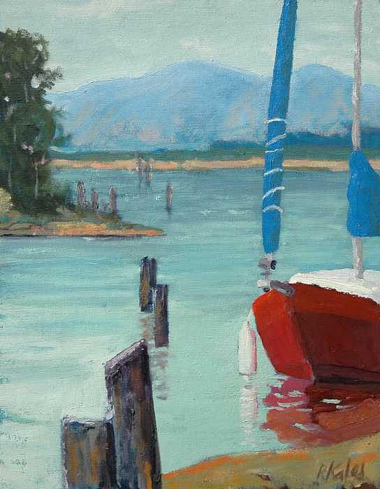 Inlet With Sailboat    Laconner Wa Painting by Raymond Kaler