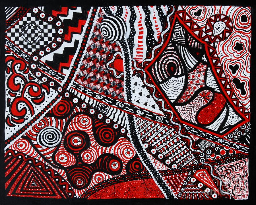 Zentangle Painting - Inlets To Illusion  by Vicki Maheu