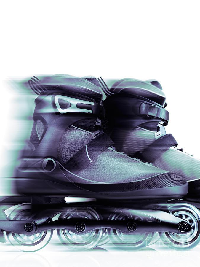 Skates Photograph - Inline Skates Rollerblades Artistic Dynamic Still Ife by Oleksiy Maksymenko