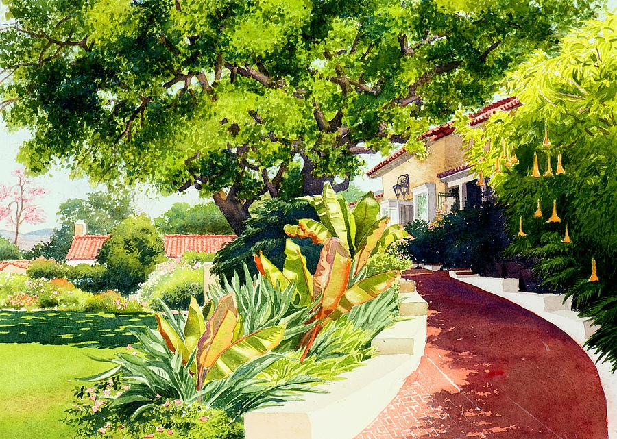 Southern California Painting - Inn at Rancho Santa Fe by Mary Helmreich