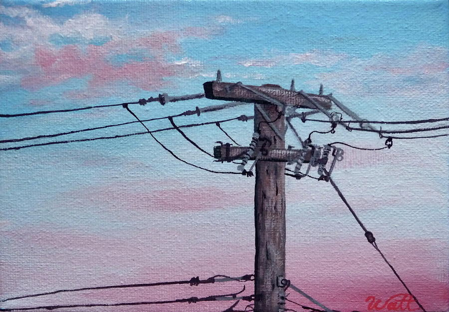 Power Lines Painting - Inner City Power by Tammy Watt