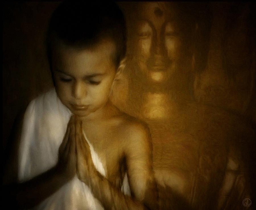 Buddha Digital Art - Inner Light by Gun Legler