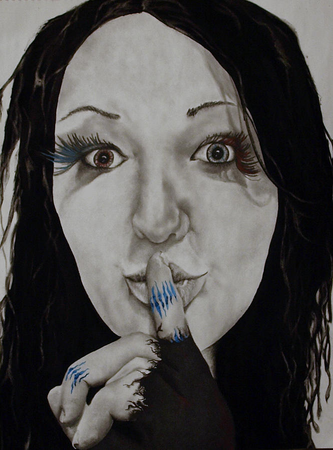 Women Face Drawing - Inner Struggle by Corina Bishop
