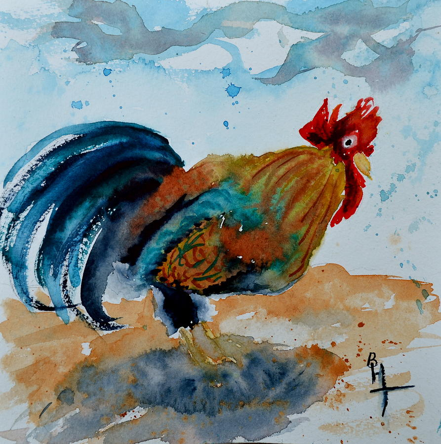 Rooster Painting - Innocent Rooster by Beverley Harper Tinsley