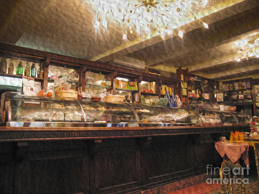 Antique Digital Art - Inside a cafe in Lucca by Patricia Hofmeester