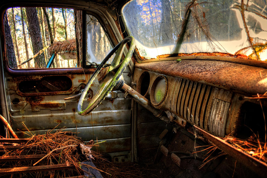 Inside An Old Truck by Greg Mimbs