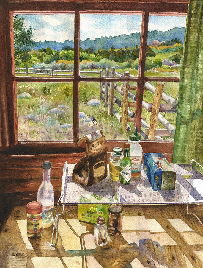 Kitchen Painting Painting - Inside My Cabin by Anne Gifford