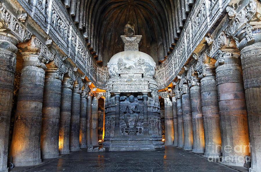 Ajanta Cave Photograph - Inside One Of The Ajanta Caves by Robert Preston