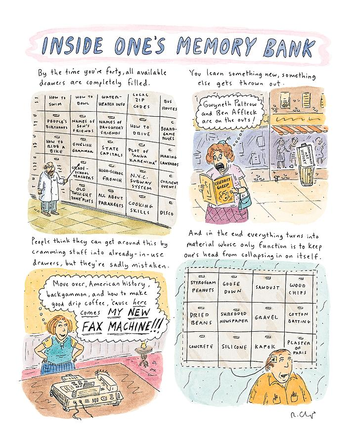inside Ones Memory Bank Drawing by Roz Chast