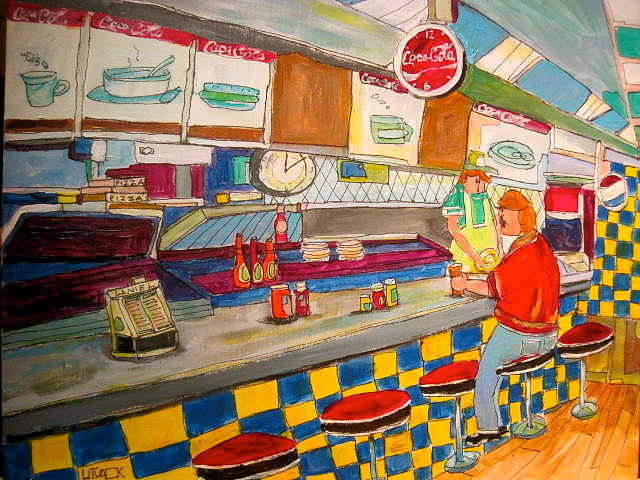 Montreal Painting - Inside Paul Patates Montreal Memories by Michael Litvack