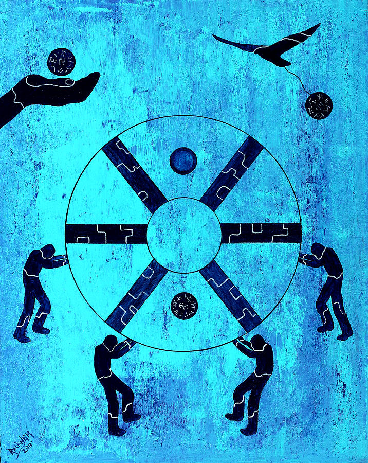 Blue Painting - Inside The Wheel Of Fortune 2011 by RalphGM