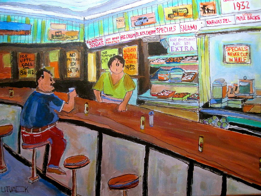 Wilensky's Snack Bar Painting - Inside Wilenskys by Michael Litvack