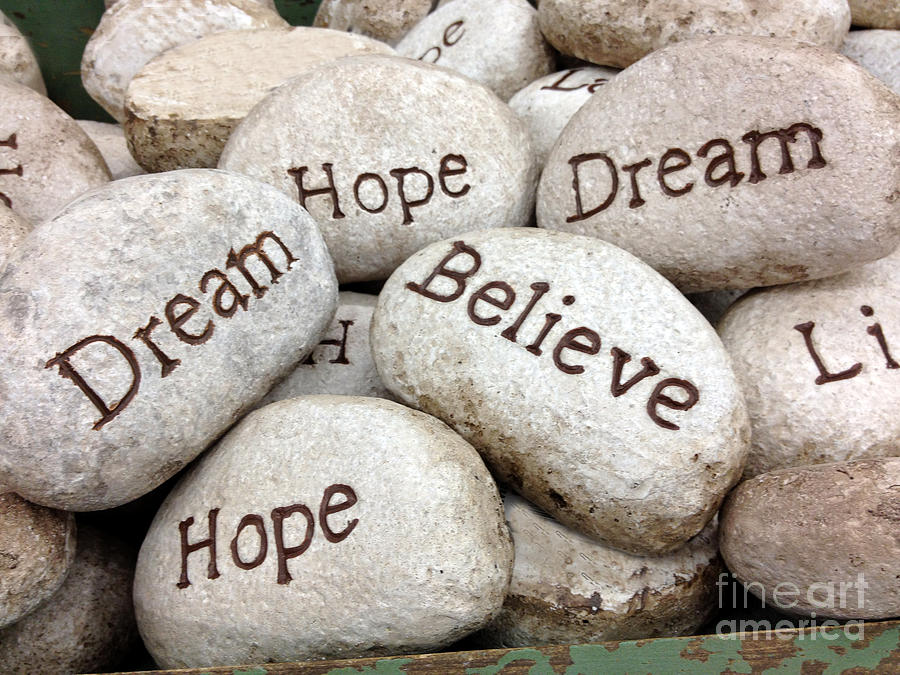 Inspirational Quotes With Drawings: Dream Hope Believe Live Typography