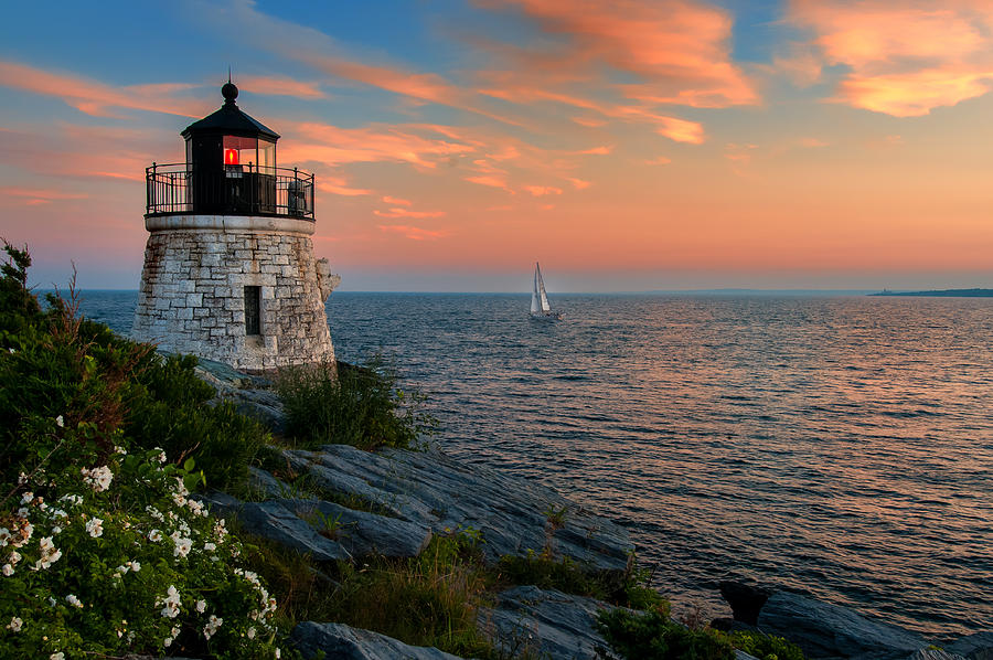 Sailboat Photograph - Inspirational Seascape - Newport Rhode Island by Thomas Schoeller