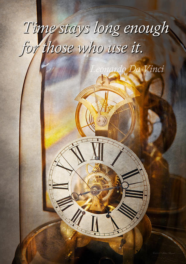 Clock Photograph - Inspirational - Time - A Look Back In Time - Da Vinci by Mike Savad