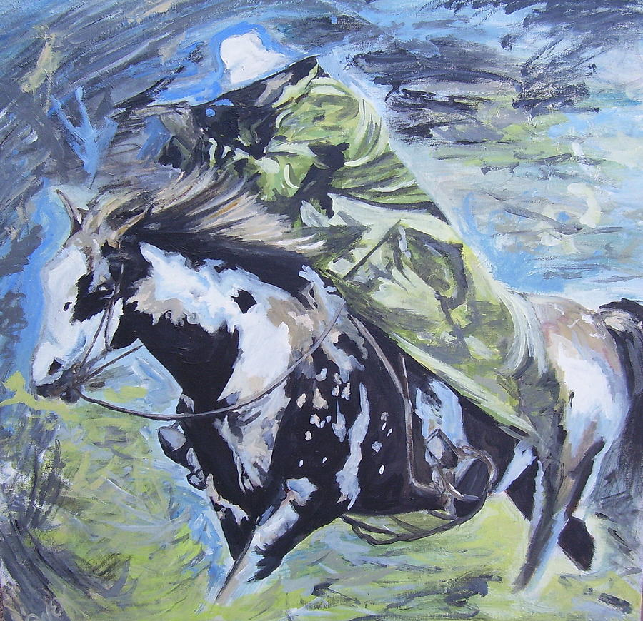 Horse An Rider Painting - Inspired By Oleg Stavrowsky by Caroline Owen-Doar