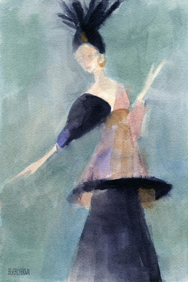 Teal Painting - Inspired By Paul Poiret Fashion Illustration Art Print by Beverly Brown Prints