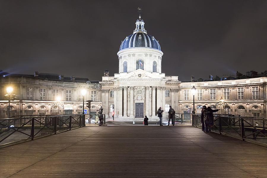 Paris At Night Photograph - Institut De France - Parisian Night Scene by Mark E Tisdale