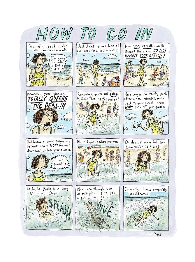 Instructions For Getting Into The Ocean Drawing by Roz Chast