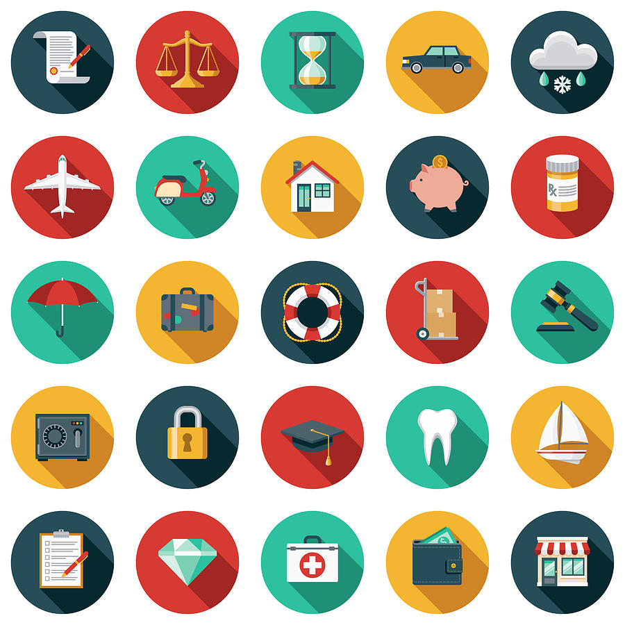 Insurance Flat Design Icon Set Drawing by Bortonia