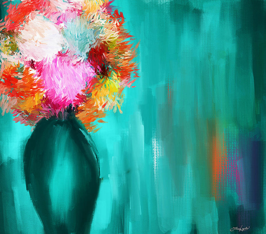 Turquoise Flower Painting - Intense Eloquence by Lourry Legarde
