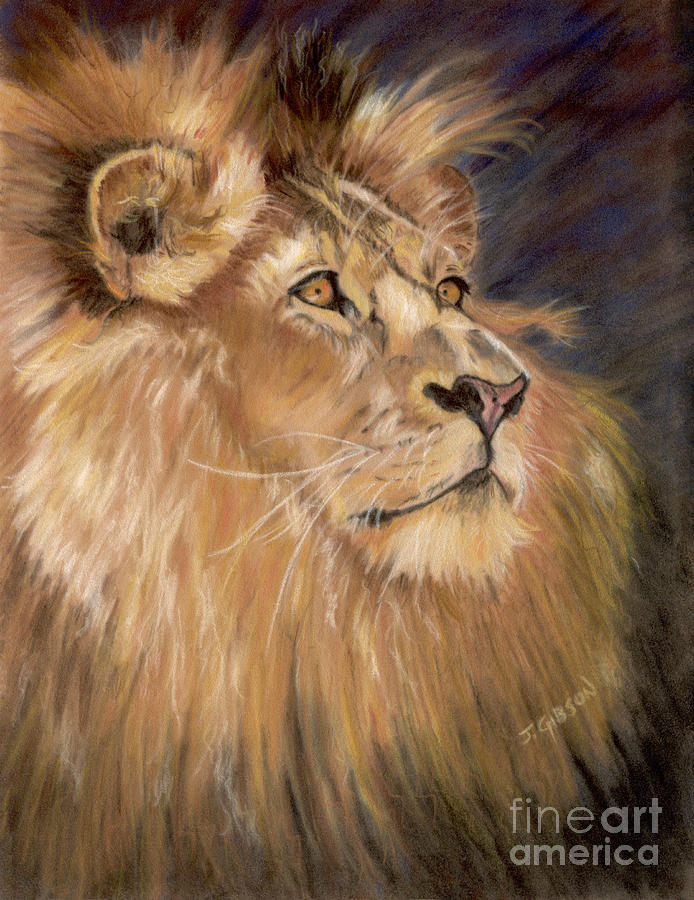 Lion Painting - Intense Pride by Jan Gibson