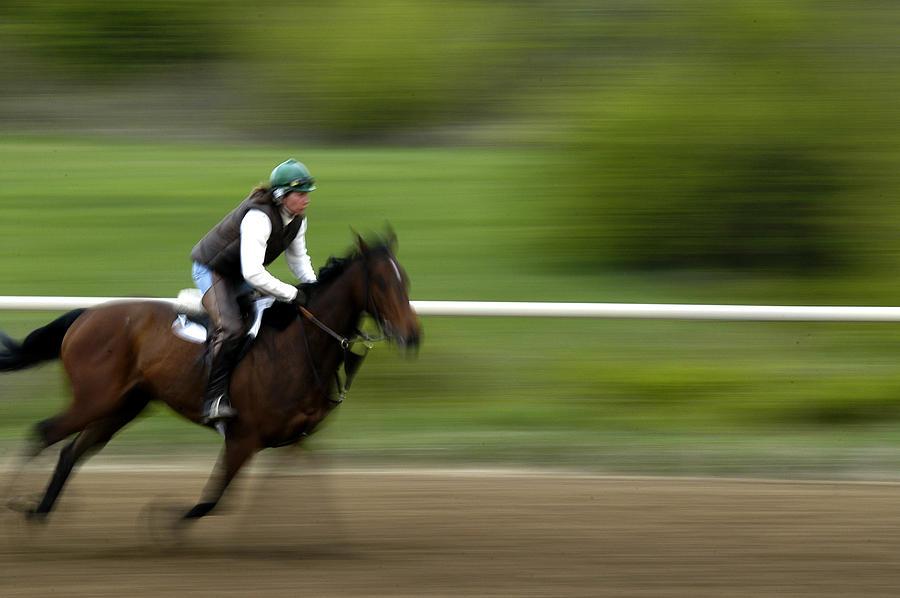 Horse Photograph - Intense Training by Randall Branham
