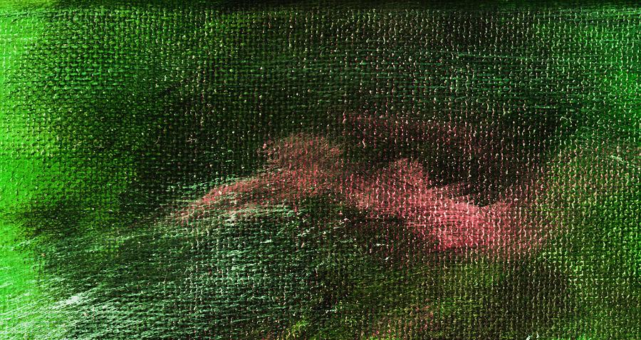 Abstract Painting - Intensity Green Pink by L J Smith