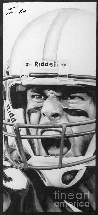Football Painting - Intensity Tom Brady by Tamir Barkan