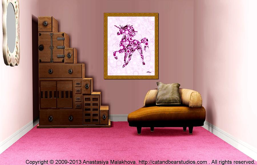 Interior design idea pink unicorn animal art digital Art gallery interior design