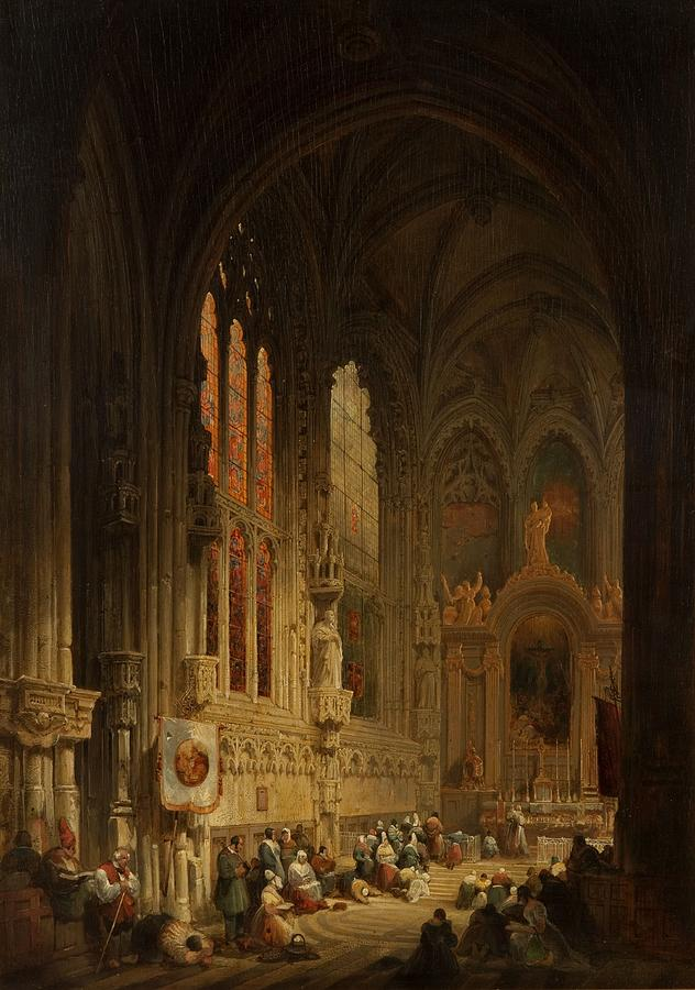 Interior Of A Cathedral 1822 Or 1829 Painting By David