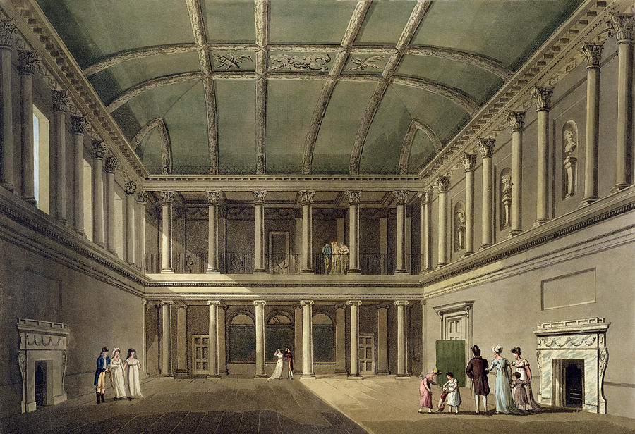 Print Drawing - Interior Of Concert Room, From Bath by John Claude Nattes