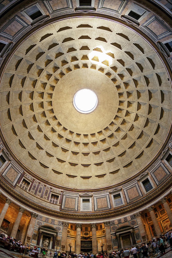 Interior Of The Pantheon Temple In Rome Photograph by Guy Vanderelst